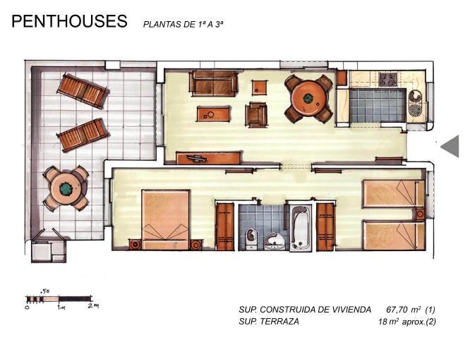 Plano de planta para Apartamento ref 3396 para sale en Condado De Alhama España - Quality Homes Costa Cálida