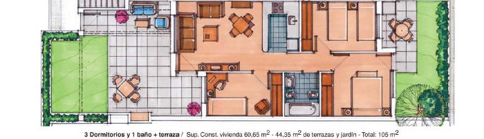 Plano de planta para Apartamento ref 3363 para sale en Condado De Alhama España - Quality Homes Costa Cálida