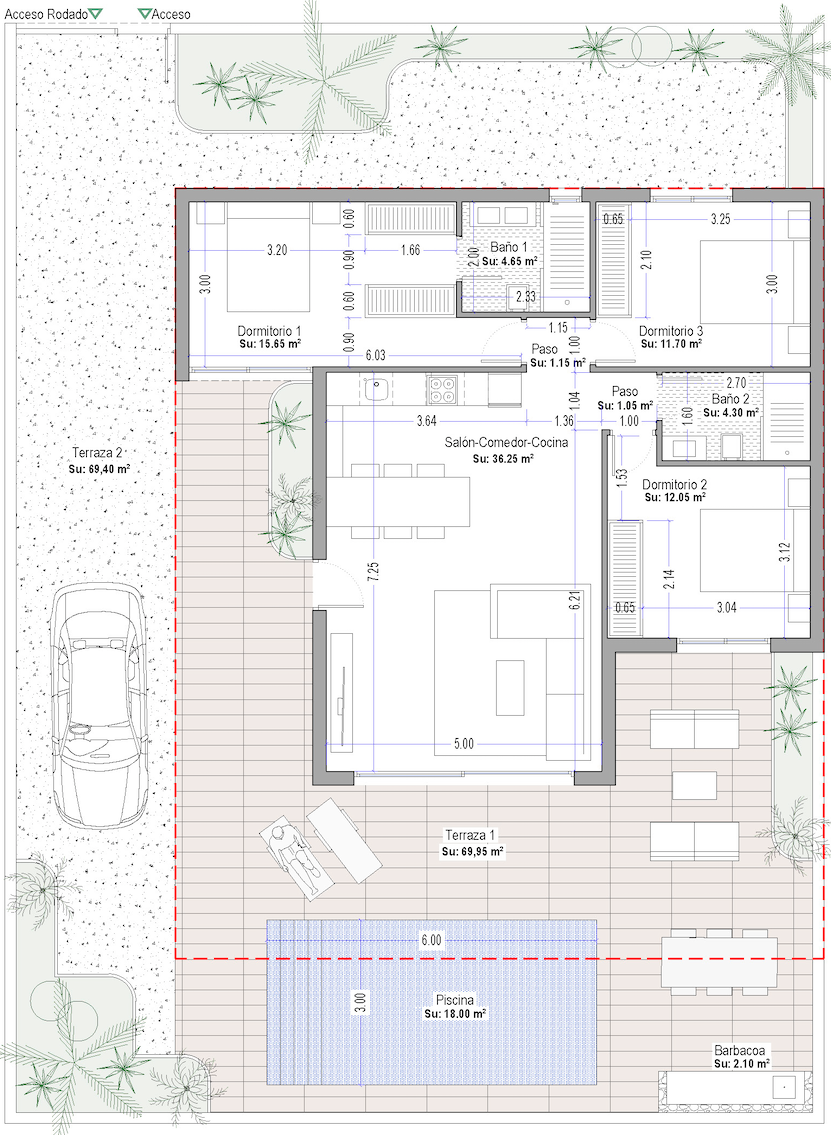 Floor plan for Villa de Lujo ref 3505 for sale in Altaona Golf And Country Village Spain - Quality Homes Costa Cálida