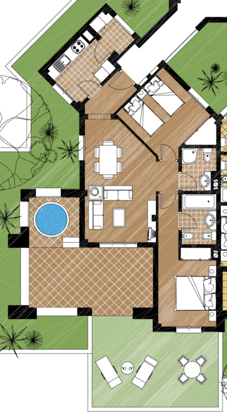 Floor plan for Apartment ref 3480 for sale in El Valle Golf Resort Spain - Quality Homes Costa Cálida