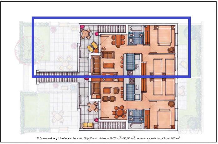Plano de planta para Apartamento ref 3516 para sale en Condado De Alhama España - Quality Homes Costa Cálida