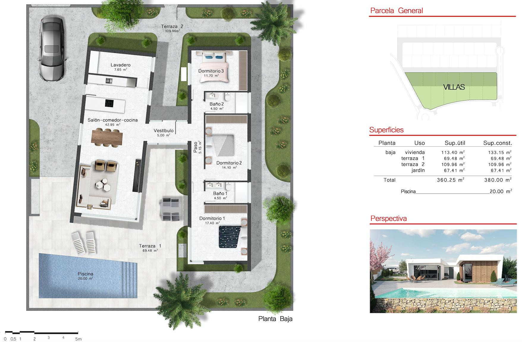 Plano de planta para Villa de Lujo ref 3503 para sale en Altaona Golf And Country Village España - Quality Homes Costa Cálida
