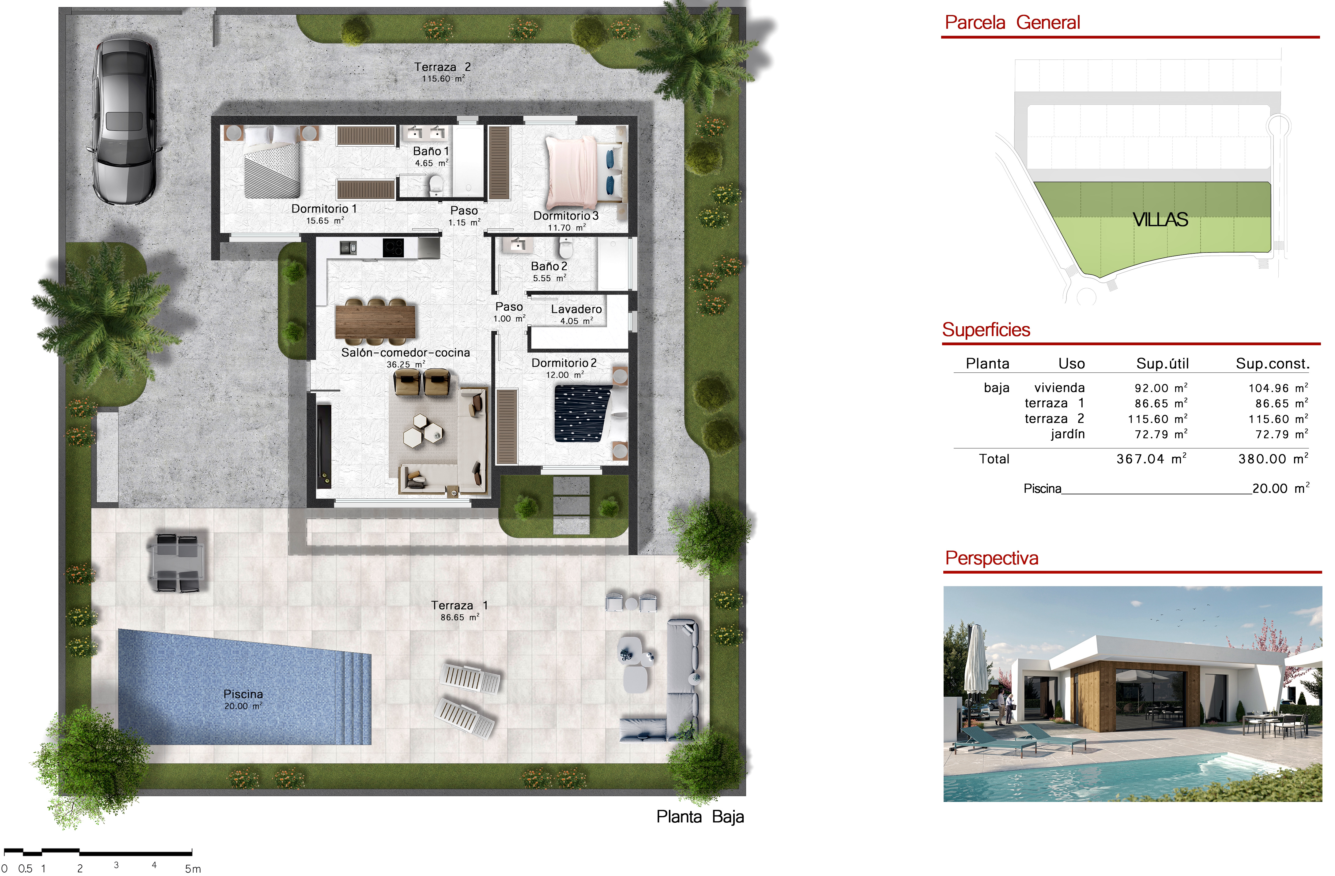 Floor plan for Villa de Lujo ref 3502 for sale in Altaona Golf And Country Village Spain - Quality Homes Costa Cálida