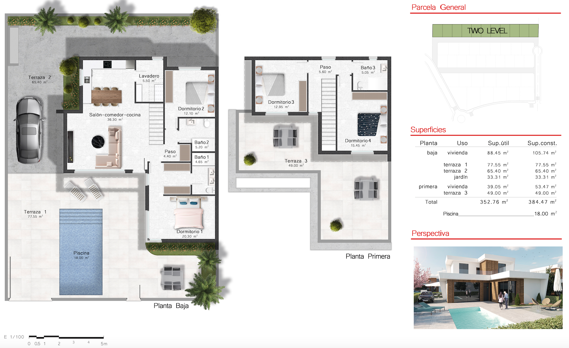 Floor plan for Villa de Lujo ref 3507 for sale in Altaona Golf And Country Village Spain - Quality Homes Costa Cálida
