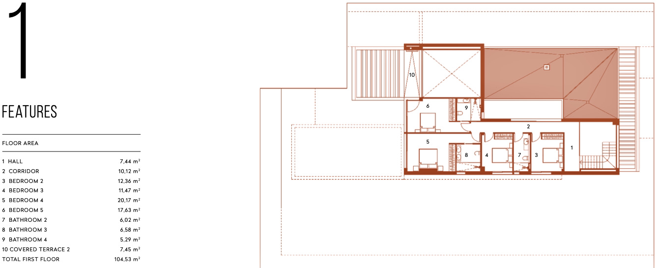 Plano de planta para Villa de Lujo ref 3066 para sale en Altaona Golf And Country Village España - Quality Homes Costa Cálida