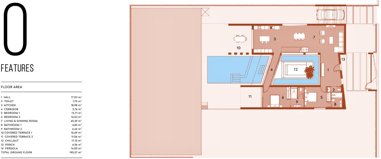 Plano de planta para Villa de Lujo ref 3067 para sale en Altaona Golf And Country Village España - Quality Homes Costa Cálida