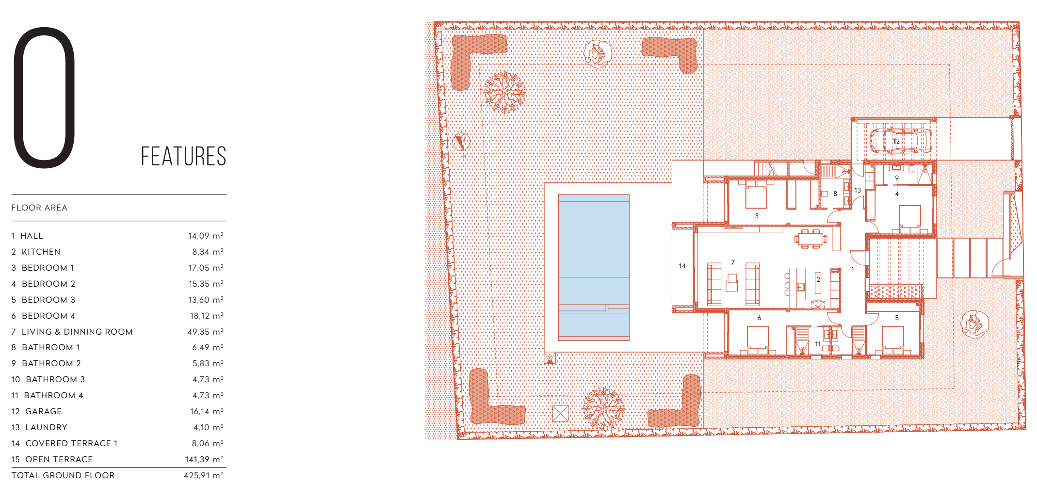 Floor plan for Villa de Lujo ref 3068 for sale in Altaona Golf And Country Village Spain - Quality Homes Costa Cálida