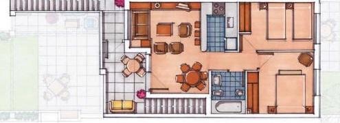 Plano de planta para Apartamento ref 3529 para sale en Condado De Alhama España - Quality Homes Costa Cálida