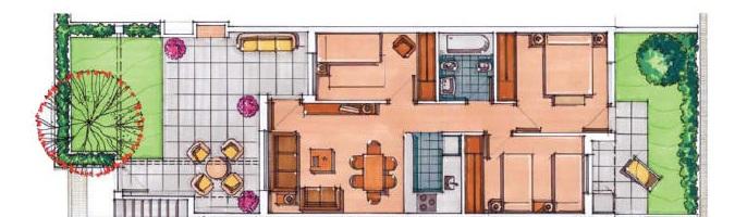 Plano de planta para Apartamento ref 3296 para sale en Condado De Alhama España - Quality Homes Costa Cálida