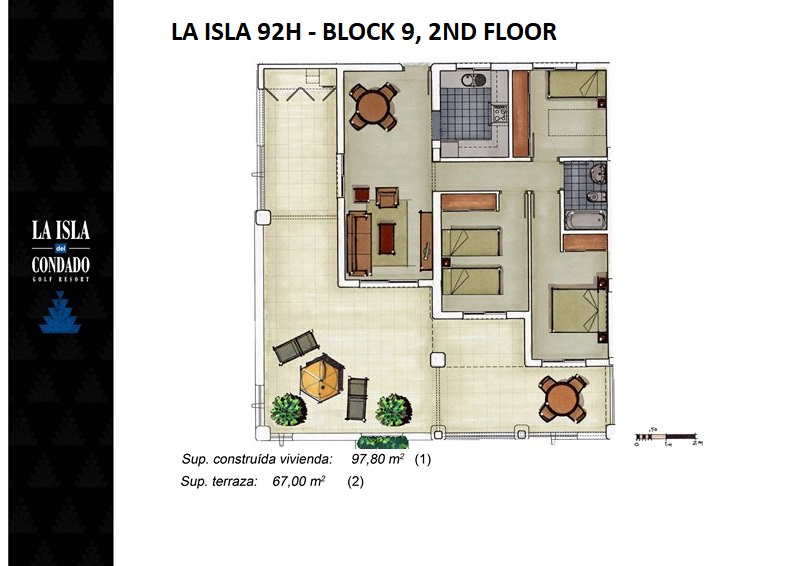 Plano de planta para Apartamento ref 3539 para sale en Condado De Alhama España - Quality Homes Costa Cálida
