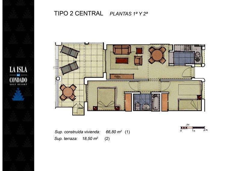 Plano de planta para Apartamento ref 3196 para sale en Condado De Alhama España - Quality Homes Costa Cálida