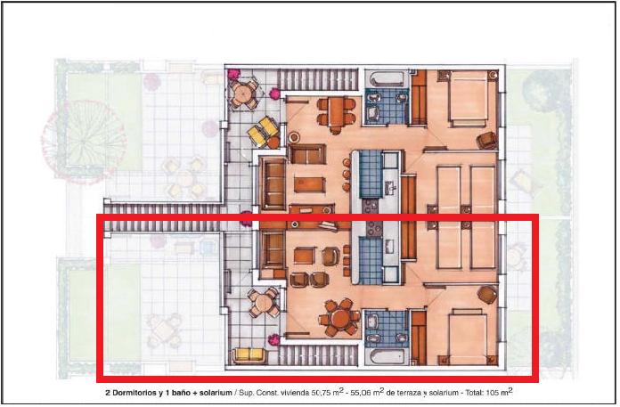 Plano de planta para Apartamento ref 3197 para sale en Condado De Alhama España - Quality Homes Costa Cálida