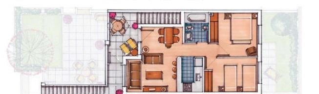 Plano de planta para Apartamento ref 3551 para sale en Condado De Alhama España - Quality Homes Costa Cálida