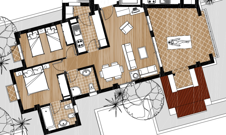 Floor plan for Apartment ref 3554 for sale in El Valle Golf Resort Spain - Quality Homes Costa Cálida