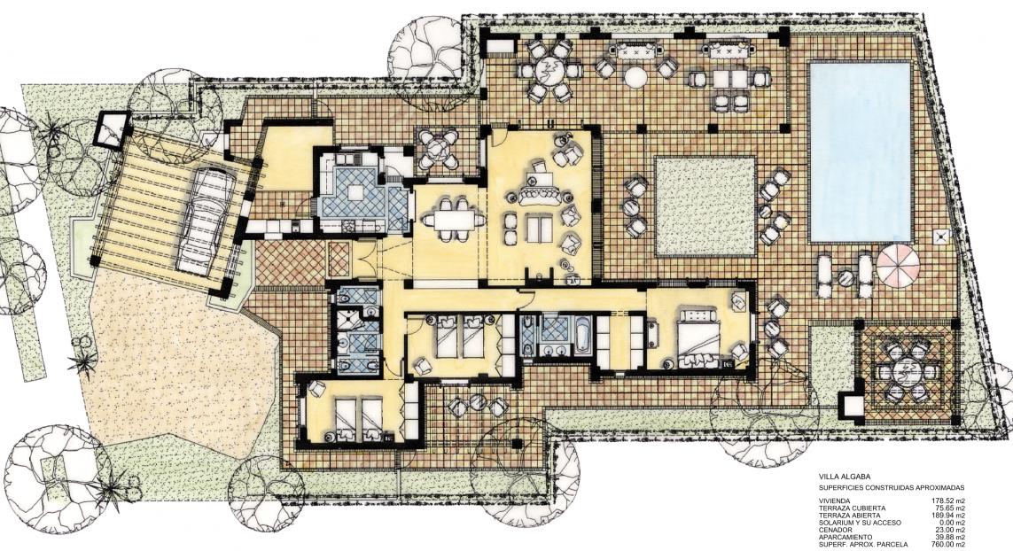 Plano de planta para Villa ref 3560 para sale en El Valle Golf Resort España - Quality Homes Costa Cálida