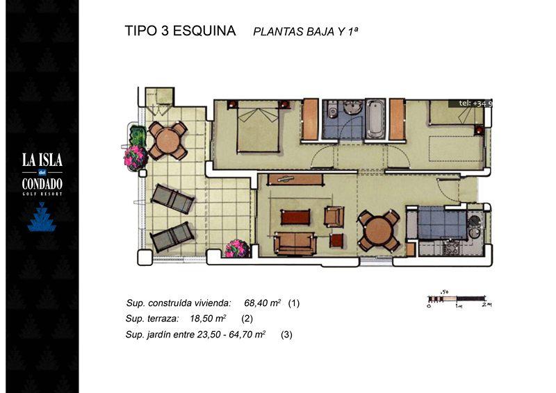 Plano de planta para Apartamento ref 3562 para sale en Condado De Alhama España - Quality Homes Costa Cálida