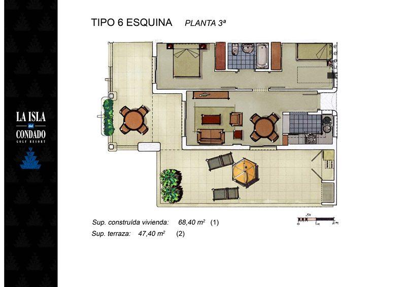 Plano de planta para Ático ref 3352 para sale en Condado De Alhama España - Quality Homes Costa Cálida