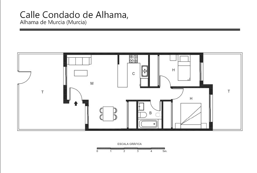 Floor plan for Apartment ref 3388 for sale in Condado De Alhama Spain - Quality Homes Costa Cálida