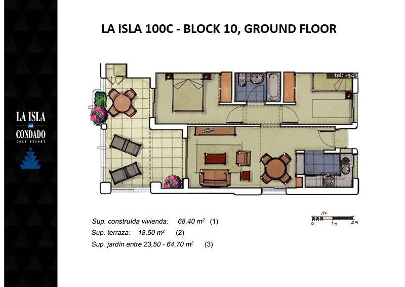 Floor plan for Apartment ref 2963 for sale in Condado De Alhama Spain - Quality Homes Costa Cálida