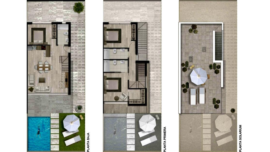 Plano de planta para Villa ref 3245 para sale en Santiago De La Ribera España - Quality Homes Costa Cálida