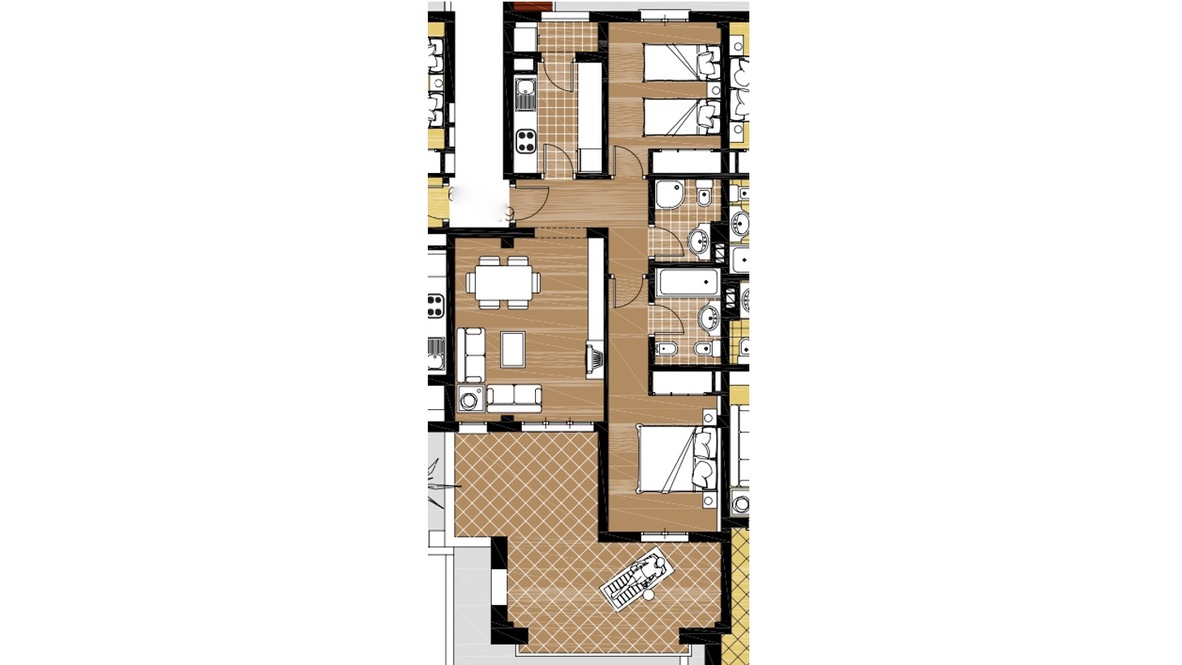 Floor plan for Apartment ref 3364 for sale in El Valle Golf Resort Spain - Quality Homes Costa Cálida