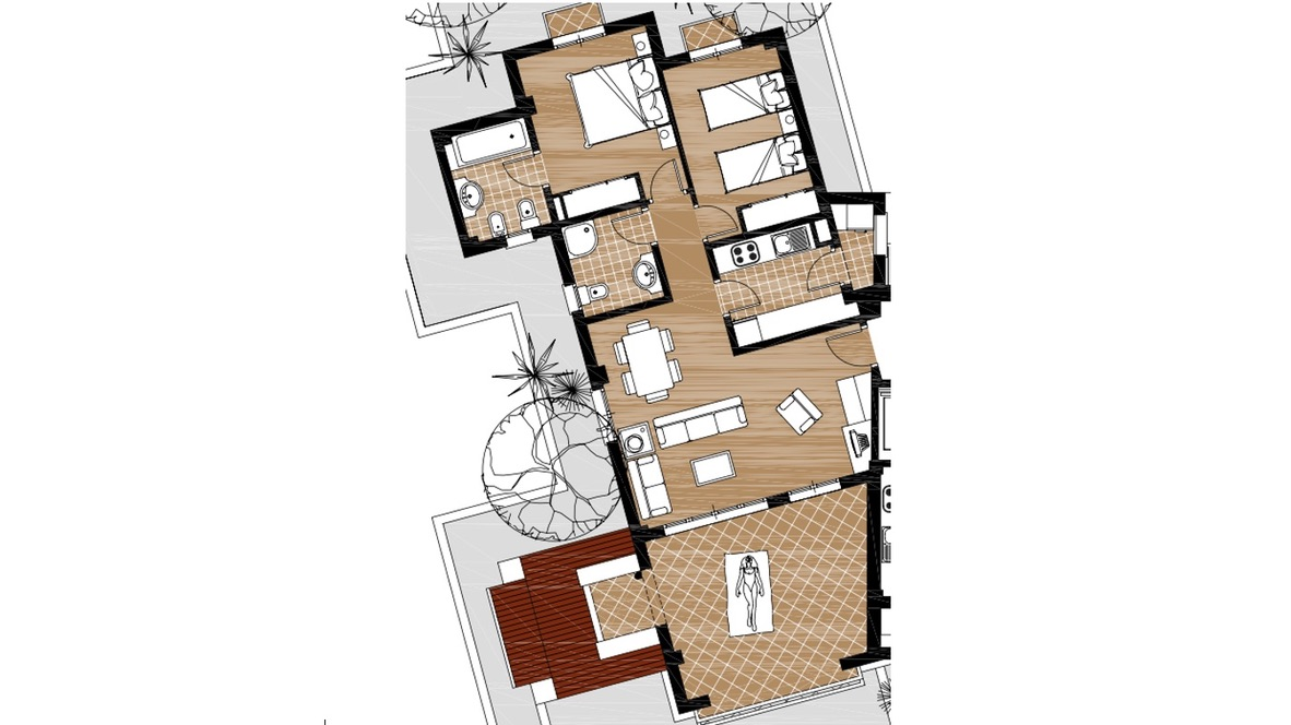 Floor plan for Apartment ref 3385 for sale in El Valle Golf Resort Spain - Quality Homes Costa Cálida