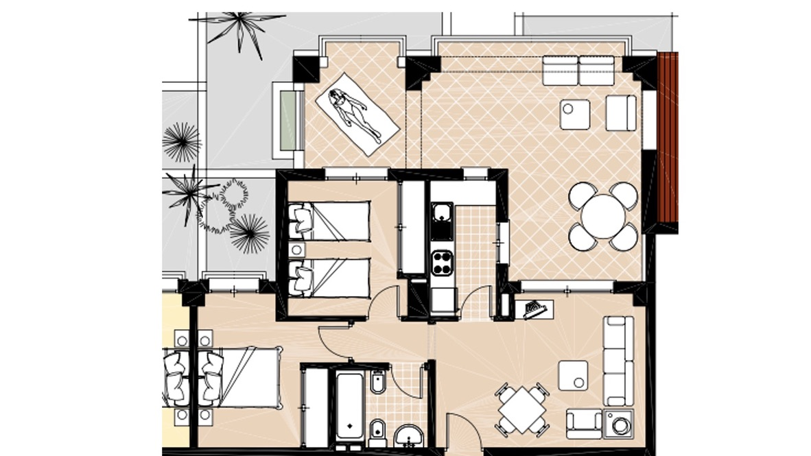 Floor plan for Apartment ref 3383 for sale in El Valle Golf Resort Spain - Quality Homes Costa Cálida