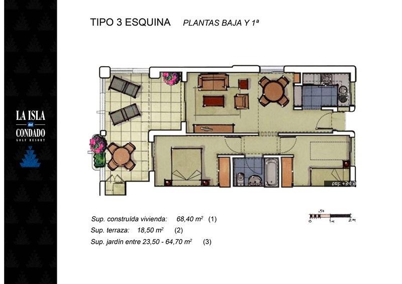 Floor plan for Apartment ref 3433 for sale in Condado De Alhama Spain - Quality Homes Costa Cálida