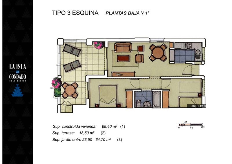 Floor plan for Apartment ref 3447 for sale in Condado De Alhama Spain - Quality Homes Costa Cálida
